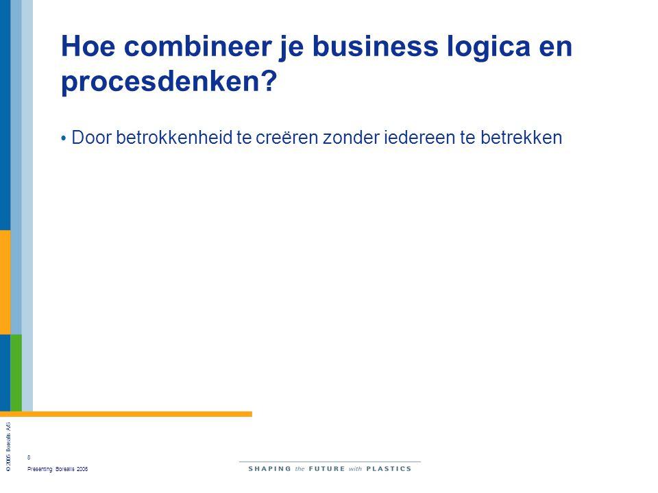 8 Presenting Borealis 2006 © 2005 Borealis A/S Hoe combineer je business logica en procesdenken.