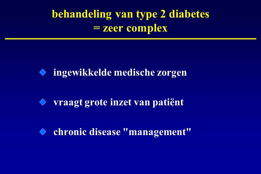 behandeling van type 2 diabetes = zeer complex ingewikkelde medische zorgen vraagt grote inzet van patiënt chronic disease