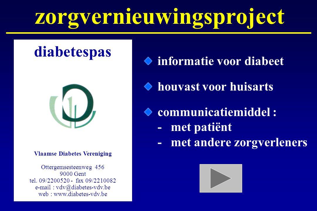 informatie voor diabeet houvast voor huisarts communicatiemiddel : -met patiënt -met andere zorgverleners diabetespas Vlaamse Diabetes Vereniging Otte