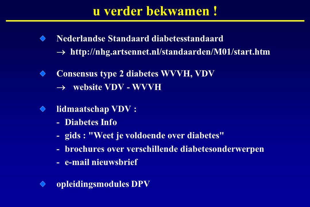Nederlandse Standaard diabetesstandaard  http://nhg.artsennet.nl/standaarden/M01/start.htm Consensus type 2 diabetes WVVH, VDV  website VDV - WVVH l