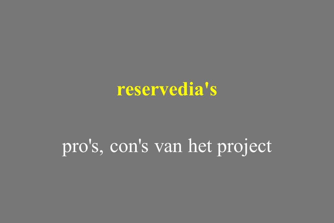 pro's, con's van het project reservedia's