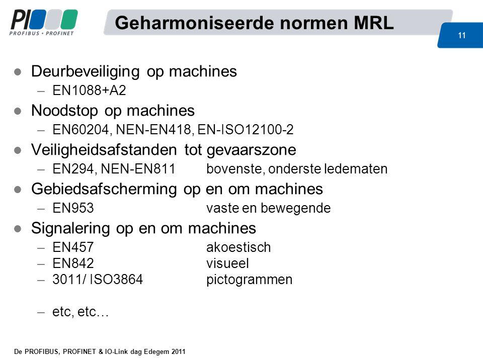 De PROFIBUS, PROFINET & IO-Link dag Edegem 2011 11 l Deurbeveiliging op machines –EN1088+A2 l Noodstop op machines –EN60204, NEN-EN418, EN-ISO12100-2