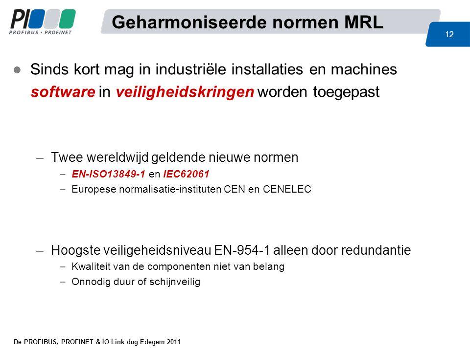 De PROFIBUS, PROFINET & IO-Link dag Edegem 2011 12 l Sinds kort mag in industriële installaties en machines software in veiligheidskringen worden toeg