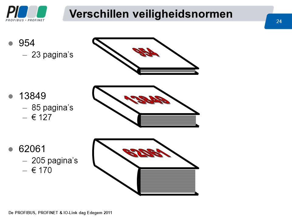 De PROFIBUS, PROFINET & IO-Link dag Edegem 2011 24 l 954 –23 pagina's l 13849 –85 pagina's –€ 127 l 62061 –205 pagina's –€ 170 Verschillen veiligheids