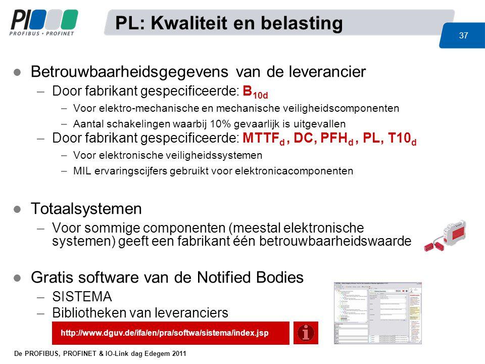 De PROFIBUS, PROFINET & IO-Link dag Edegem 2011 37 l Betrouwbaarheidsgegevens van de leverancier –Door fabrikant gespecificeerde: B 10d –Voor elektro-