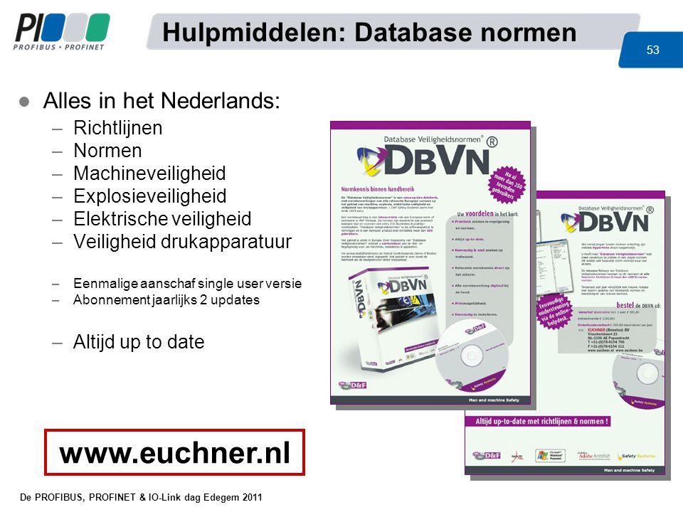 De PROFIBUS, PROFINET & IO-Link dag Edegem 2011 53 l Alles in het Nederlands: –Richtlijnen –Normen –Machineveiligheid –Explosieveiligheid –Elektrische