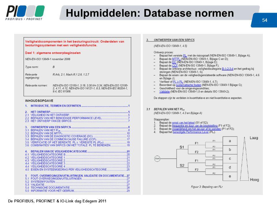 De PROFIBUS, PROFINET & IO-Link dag Edegem 2011 54 Hulpmiddelen: Database normen