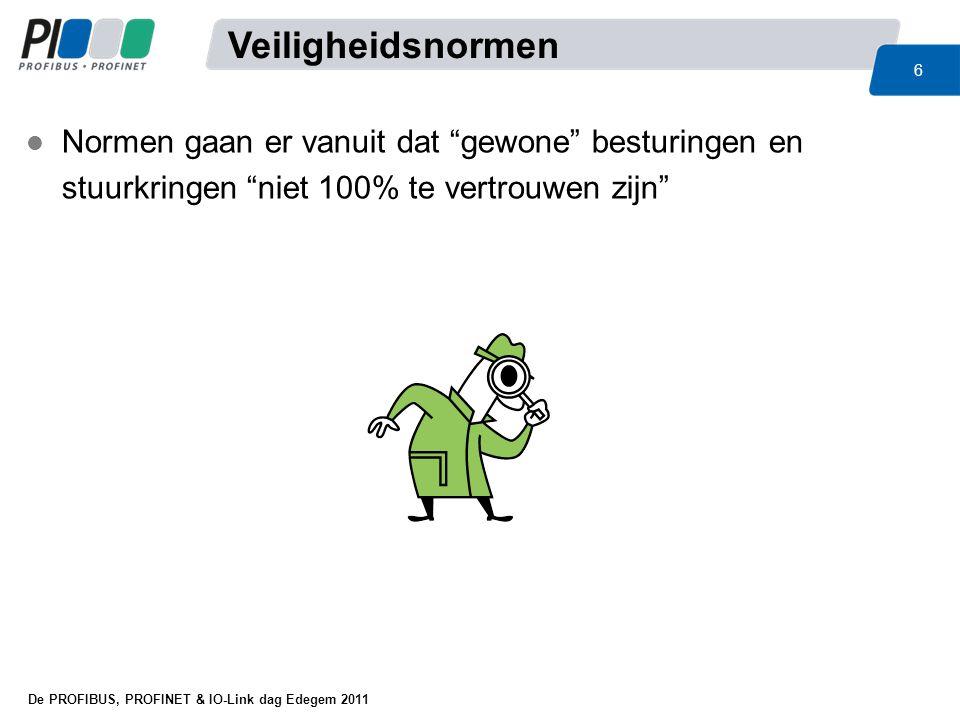 De PROFIBUS, PROFINET & IO-Link dag Edegem 2011 17 l Nieuwe machinerichtlijn 2006/42/EG –Belangrijkste wijziging voor machinebouw –Heeft meer implicaties dan wijzigingen in de normen –Geen verkeerde interpretaties –Sinds 01-01-2010 in alle lidstaten een wet – België: Koninklijk Besluit, Nederland: Wet op de gevaarlijke werktuigen –Meer definities, duidelijker, consequenter –Meer uitsluitingen, voorbeeld: Elektromotor is géén machine –MRL geldt niet voor verplaatsing van kunstenaars: Theaterapparatuur –Verplicht uitvoeren van risicoanalyse –Verwijzingen naar Arbeidsmiddelenrichtlijn –Géén verwarring over IIA, IIB enz.