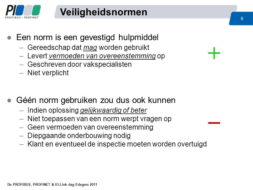 De PROFIBUS, PROFINET & IO-Link dag Edegem 2011 49 IEC62061EN-ISO13849 Prestatie (samentellen prestaties) Relatie met IEC62061 PL = a t/m e MTTF d CCF Common Cause Failure WEL voor mechanisch WEL voor elektrisch WEL voor hydraulisch WEL voor pneumatisch Beter voor elektromechanica Falen (samentellen faalkansen) Relatie met EN ISO13849 SIL = 1 t/m 3 PFH d CCF Common Cause Failure WEL voor mechanisch WEL voor elektrisch NIET voor hydraulisch NIET voor pneumatisch Beter voor complexe besturingen l Twéé normen, één doel Overeenkomsten PL en SIL