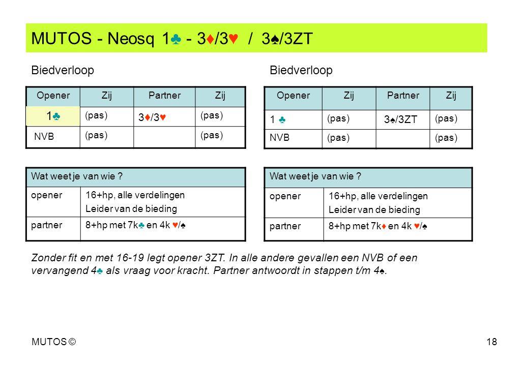 MUTOS ©18 MUTOS - Neosq 1♣ - 3♦/3♥ / 3♠/3ZT OpenerZijPartnerZij (pas) 3 ♦ /3♥ (pas) NVB (pas) OpenerZijPartnerZij 1 ♣ (pas) 3 ♠ /3ZT (pas) NVB(pas) Wa
