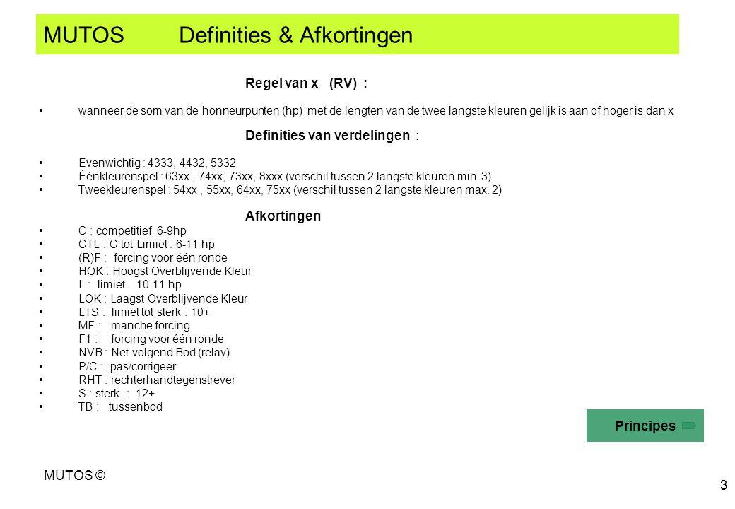 MUTOS © 3 MUTOS Definities & Afkortingen Regel van x (RV) : wanneer de som van de honneurpunten (hp) met de lengten van de twee langste kleuren gelijk