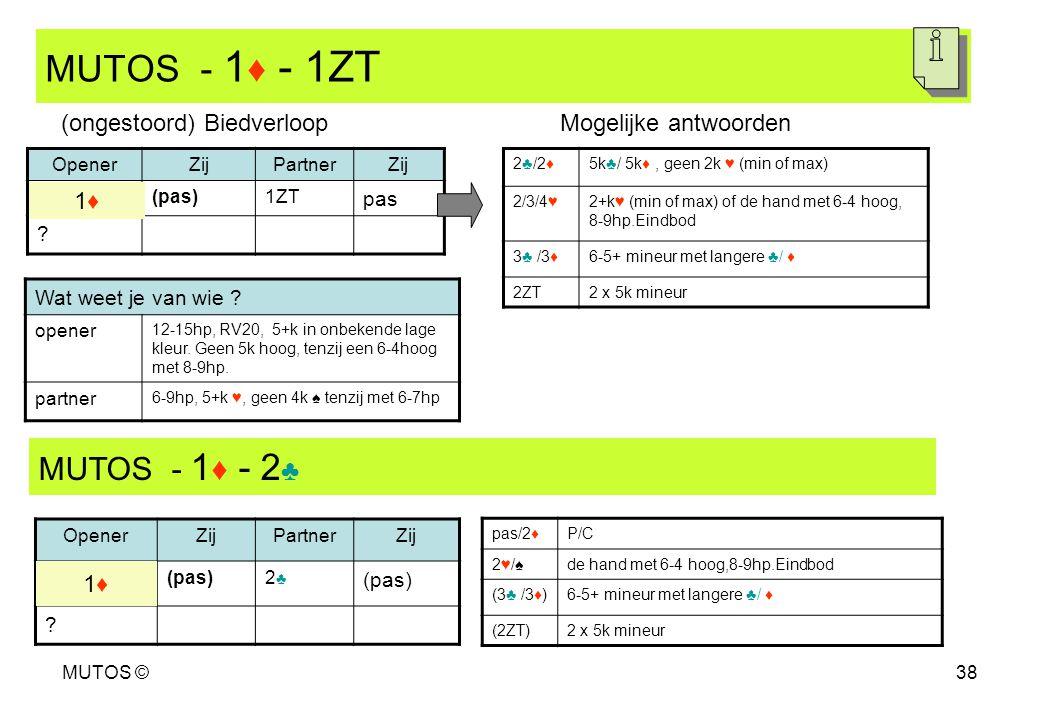 MUTOS ©38 MUTOS - 1 ♦ - 1ZT OpenerZijPartnerZij (pas)1ZT pas ? 2♣/2♦5k♣/ 5k♦, geen 2k ♥ (min of max) 2/3/4♥2+k♥ (min of max) of de hand met 6-4 hoog,