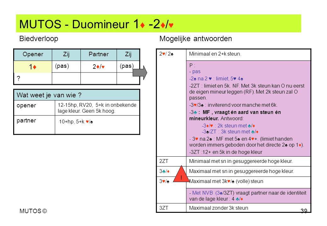 MUTOS ©39 MUTOS - Duomineur 1 ♦ -2 ♦ / ♥ OpenerZijPartnerZij (pas) 2♦/♥2♦/♥ ? 2♥/ 2♠Minimaal en 2+k steun. P : - pas -2♠ na 2 ♥ : limiet, 5♥ 4♠ -2ZT :