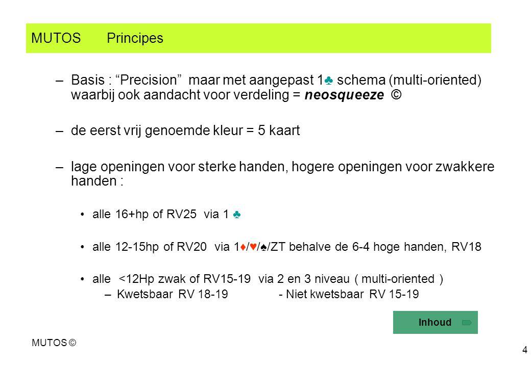 """MUTOS © 4 MUTOS Principes –Basis : """"Precision"""" maar met aangepast 1♣ schema (multi-oriented) waarbij ook aandacht voor verdeling = neosqueeze © –de ee"""