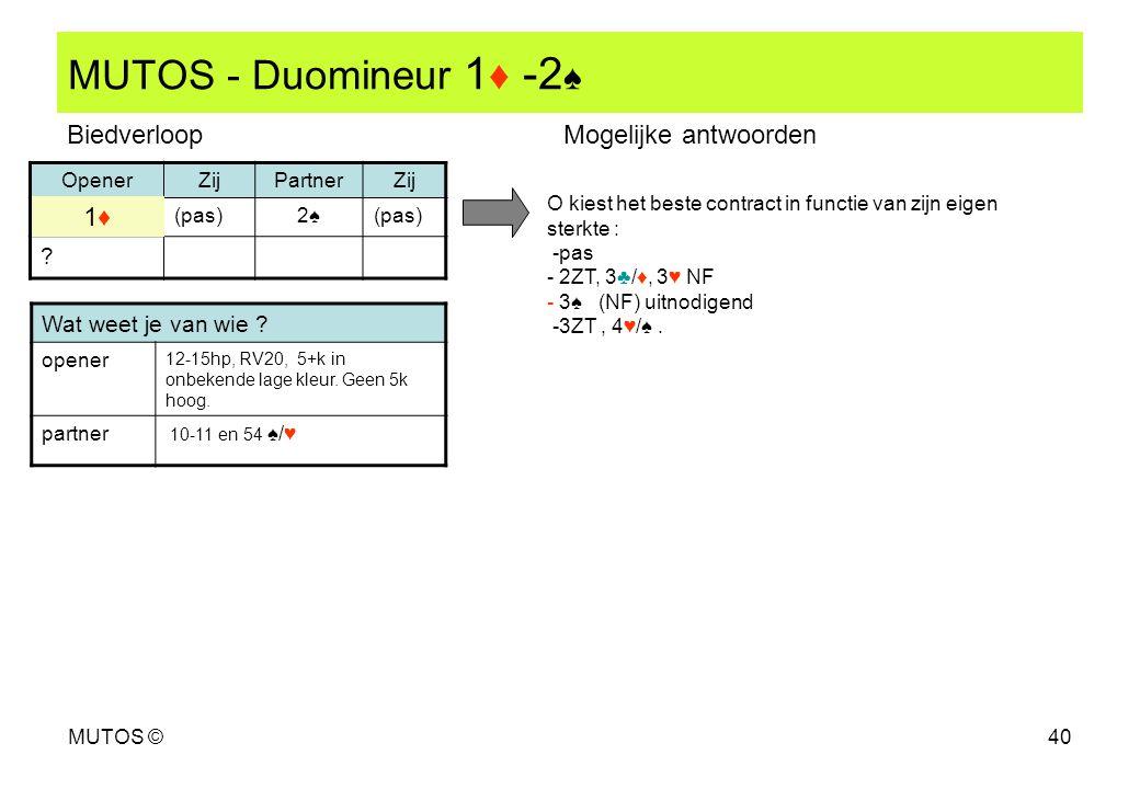 MUTOS ©40 MUTOS - Duomineur 1 ♦ -2 ♠ OpenerZijPartnerZij (pas)2♠2♠ ? Wat weet je van wie ? opener 12-15hp, RV20, 5+k in onbekende lage kleur. Geen 5k