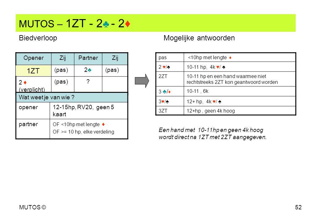 MUTOS ©52 MUTOS – 1ZT - 2 ♣ - 2♦ OpenerZijPartnerZij (pas)2♣2♣ 2 ♦ (verplicht) (pas)? pas <10hp met lengte ♦ 2 ♥/ ♠ 10-11 hp, 4k ♥/ ♠ 2ZT10-11 hp en e