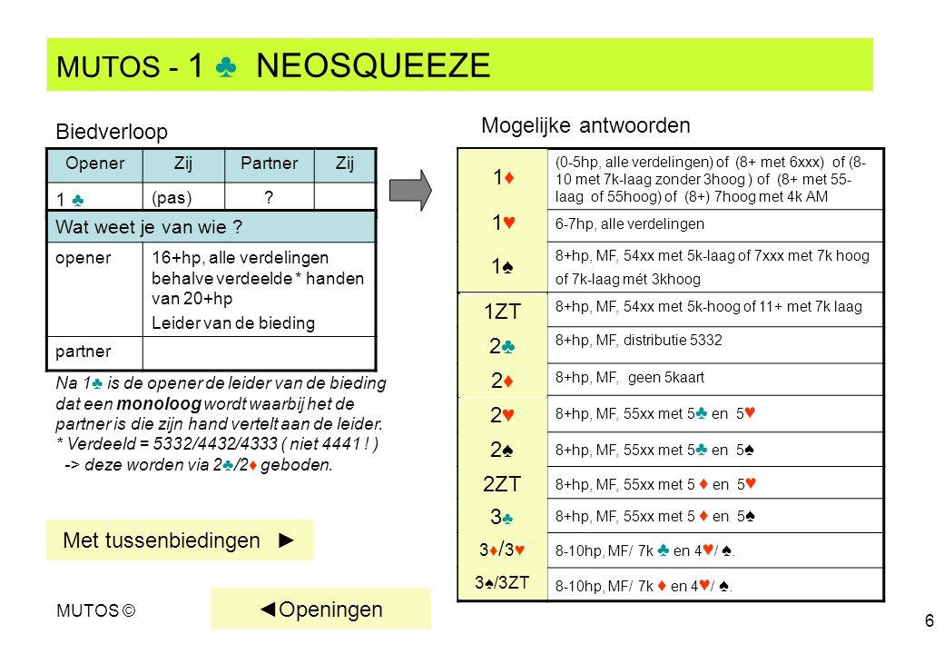 MUTOS © 6 MUTOS - 1 ♣ NEOSQUEEZE OpenerZijPartnerZij 1 ♣ (pas)? (0-5hp, alle verdelingen) of (8+ met 6xxx) of (8- 10 met 7k-laag zonder 3hoog ) of (8+
