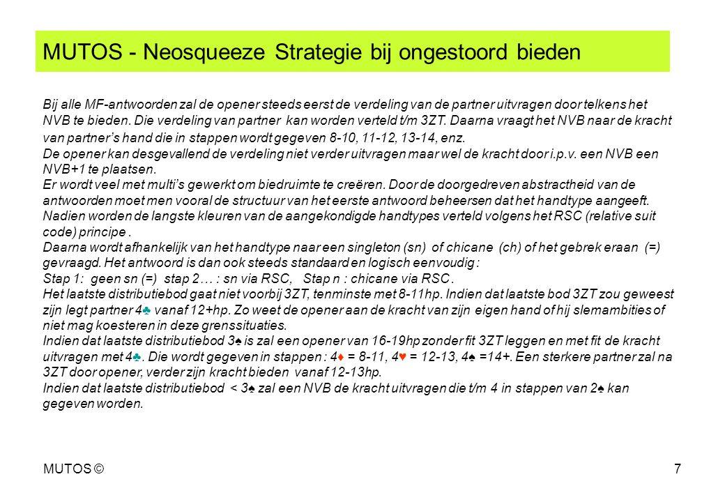MUTOS ©7 MUTOS - Neosqueeze Strategie bij ongestoord bieden Bij alle MF-antwoorden zal de opener steeds eerst de verdeling van de partner uitvragen do
