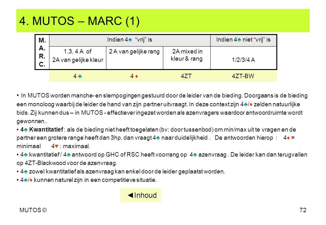 MUTOS ©72 4. MUTOS – MARC (1) In MUTOS worden manche- en slempogingen gestuurd door de leider van de bieding. Doorgaans is de bieding een monoloog waa