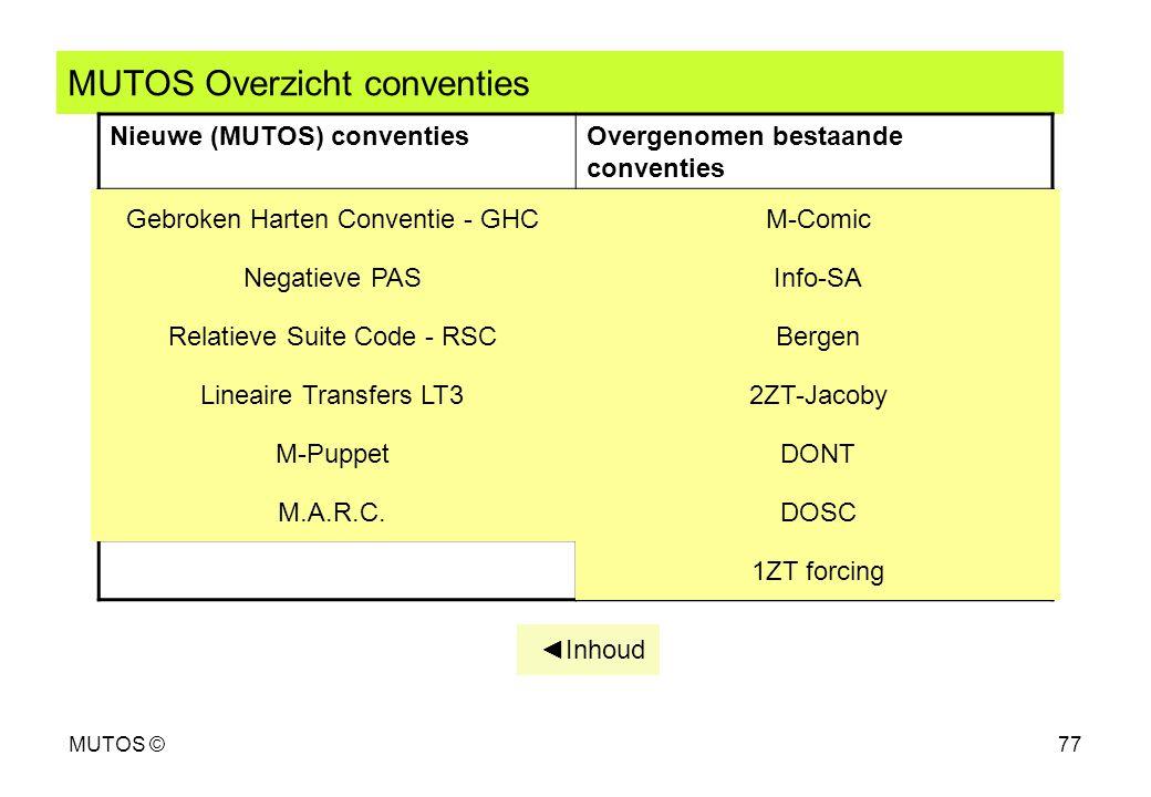 MUTOS ©77 MUTOS Overzicht conventies Nieuwe (MUTOS) conventiesOvergenomen bestaande conventies Gebroken Harten Conventie - GHC Negatieve PAS Relatieve