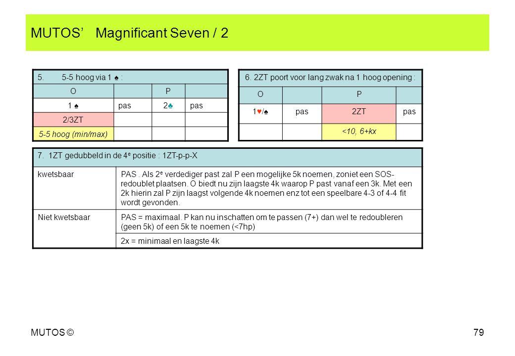 MUTOS ©79 MUTOS' Magnificant Seven / 2 5. 5-5 hoog via 1 ♠ : OP 1 ♠pas2♣2♣ 2/3ZT 5-5 hoog (min/max) 6. 2ZT poort voor lang zwak na 1 hoog opening : OP