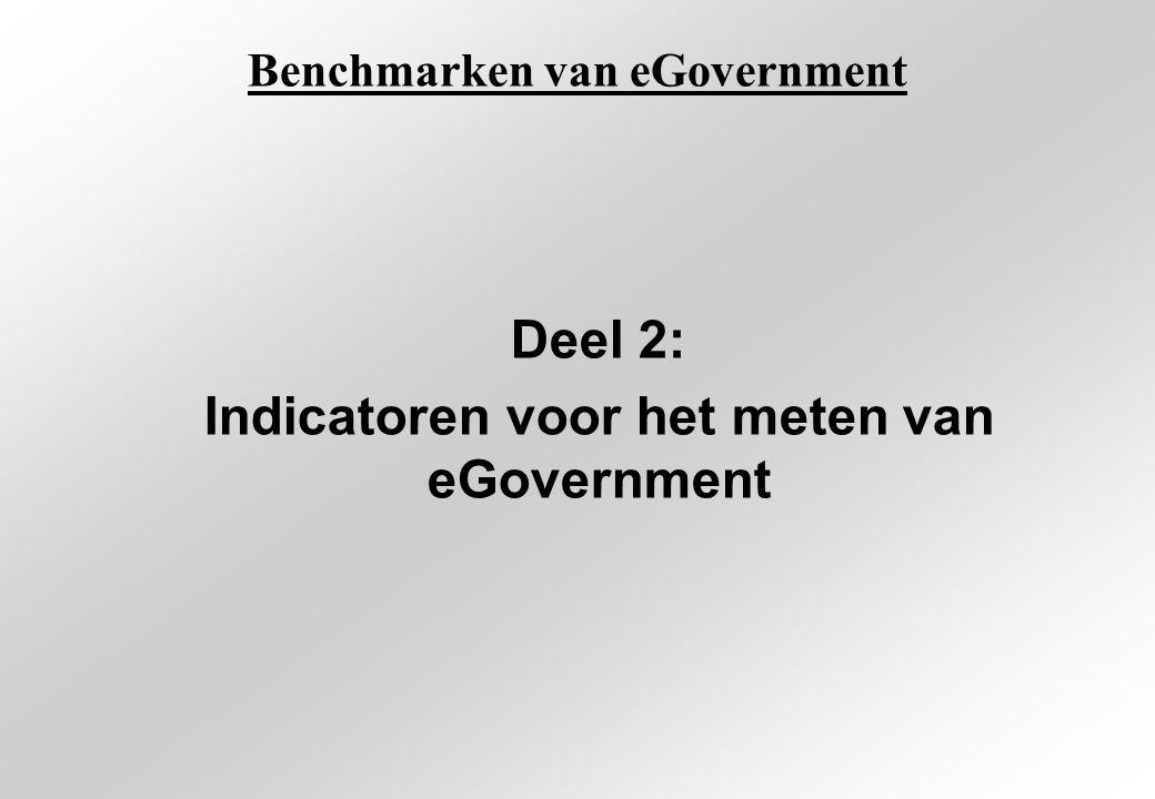 Benchmarken van eGovernment Deel 2: Indicatoren voor het meten van eGovernment