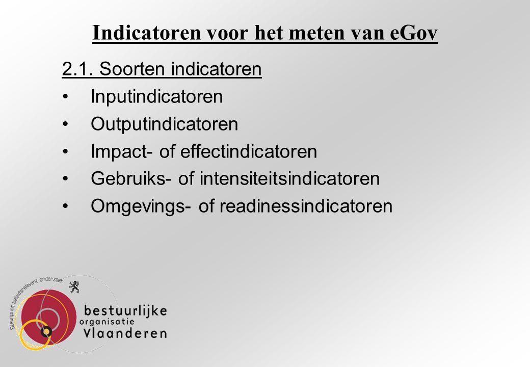Indicatoren voor het meten van eGov 2.1.