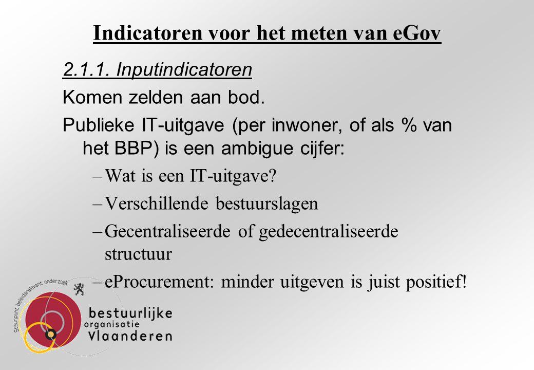 Indicatoren voor het meten van eGov 2.1.1. Inputindicatoren Komen zelden aan bod.