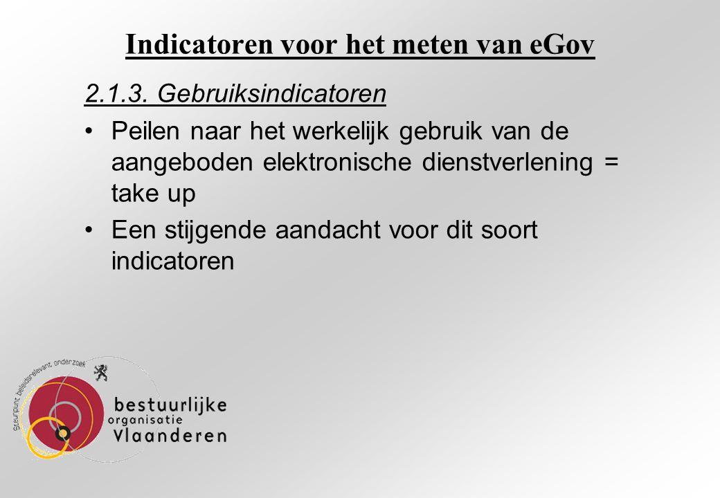 Indicatoren voor het meten van eGov 2.1.3.