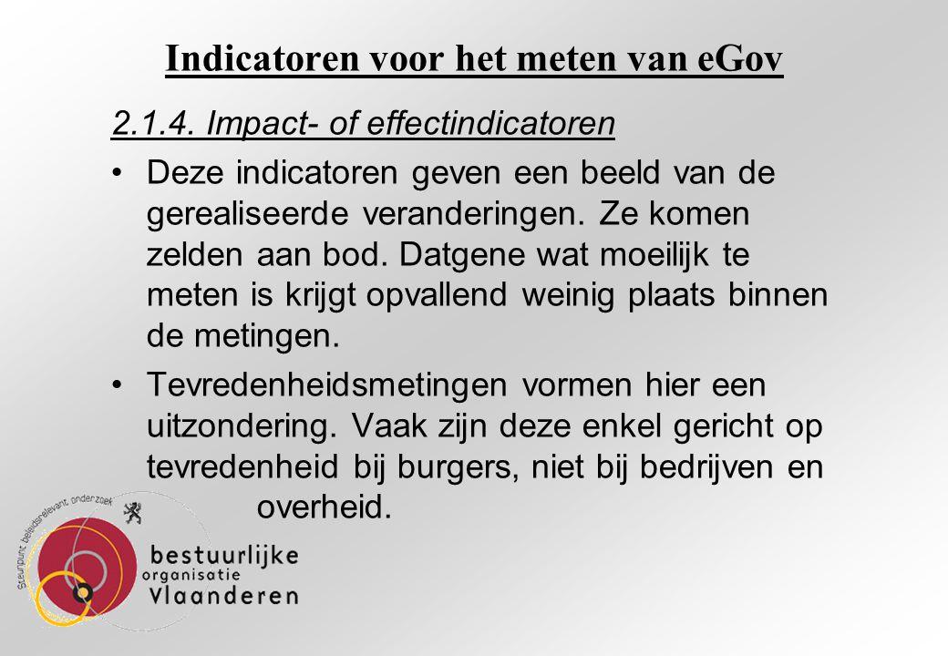 Indicatoren voor het meten van eGov 2.1.4.