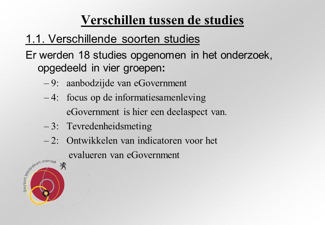 1.1. Verschillende soorten studies Er werden 18 studies opgenomen in het onderzoek, opgedeeld in vier groepen: –9: aanbodzijde van eGovernment –4: foc