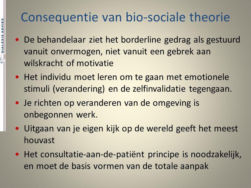 Consequentie van bio-sociale theorie De behandelaar ziet het borderline gedrag als gestuurd vanuit onvermogen, niet vanuit een gebrek aan wilskracht o