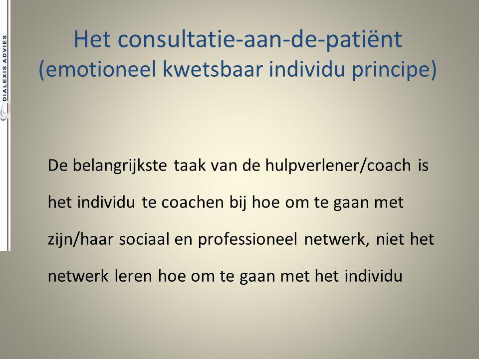 Het consultatie-aan-de-patiënt (emotioneel kwetsbaar individu principe) De belangrijkste taak van de hulpverlener/coach is het individu te coachen bij