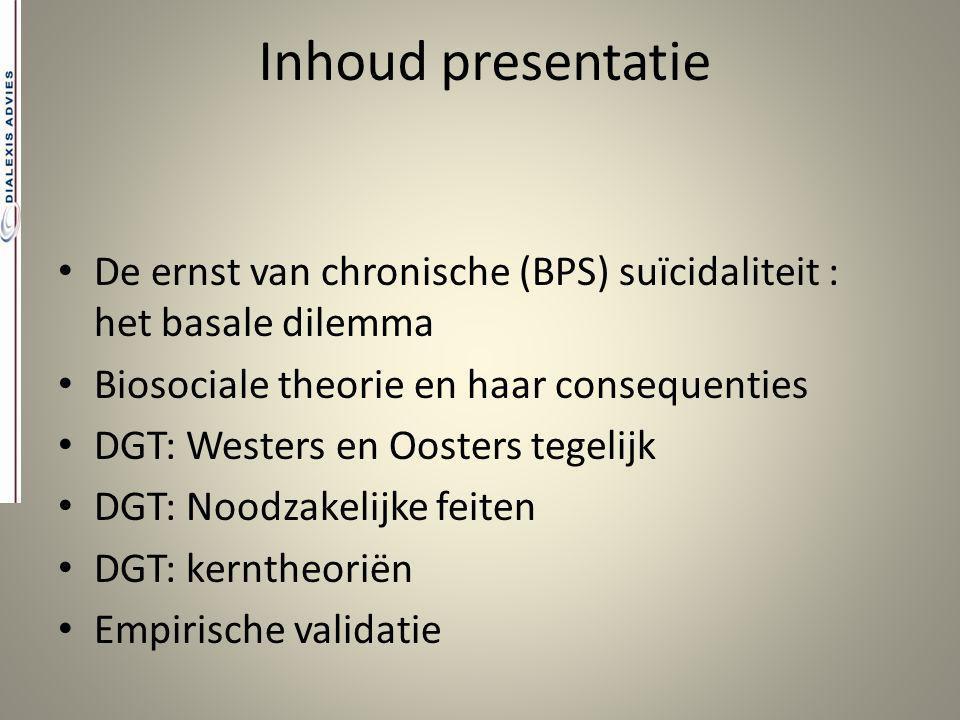 Inhoud presentatie De ernst van chronische (BPS) suïcidaliteit : het basale dilemma Biosociale theorie en haar consequenties DGT: Westers en Oosters t