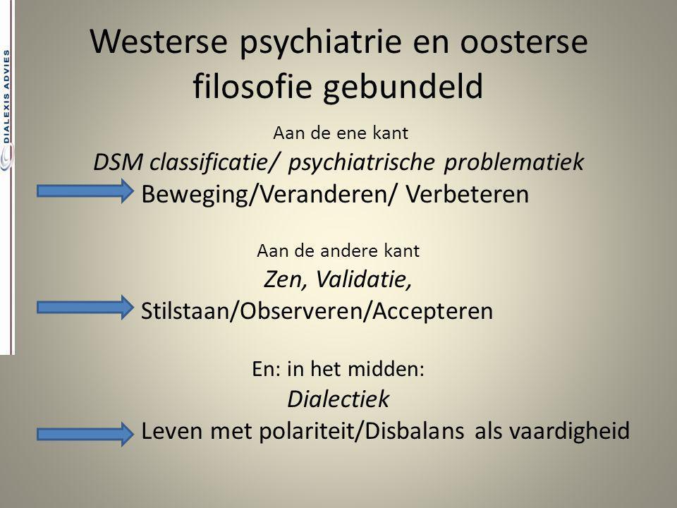 Westerse psychiatrie en oosterse filosofie gebundeld Aan de ene kant DSM classificatie/ psychiatrische problematiek Beweging/Veranderen/ Verbeteren Aa