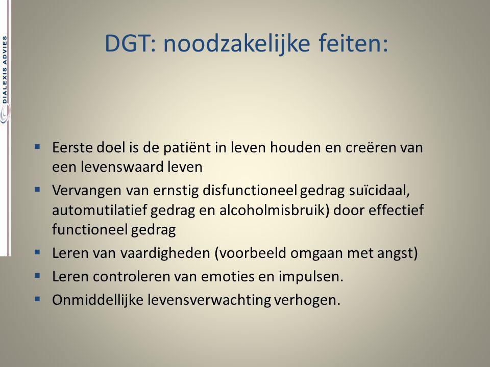 DGT: noodzakelijke feiten:  Eerste doel is de patiënt in leven houden en creëren van een levenswaard leven  Vervangen van ernstig disfunctioneel ged