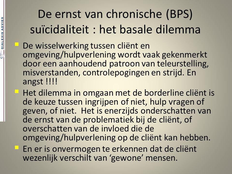 De ernst van chronische (BPS) suïcidaliteit : het basale dilemma  De wisselwerking tussen cliënt en omgeving/hulpverlening wordt vaak gekenmerkt door
