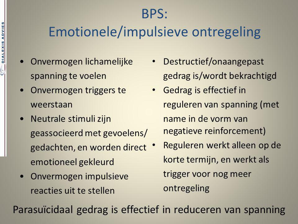 BPS: Emotionele/impulsieve ontregeling Destructief/onaangepast gedrag is/wordt bekrachtigd Gedrag is effectief in reguleren van spanning (met name in