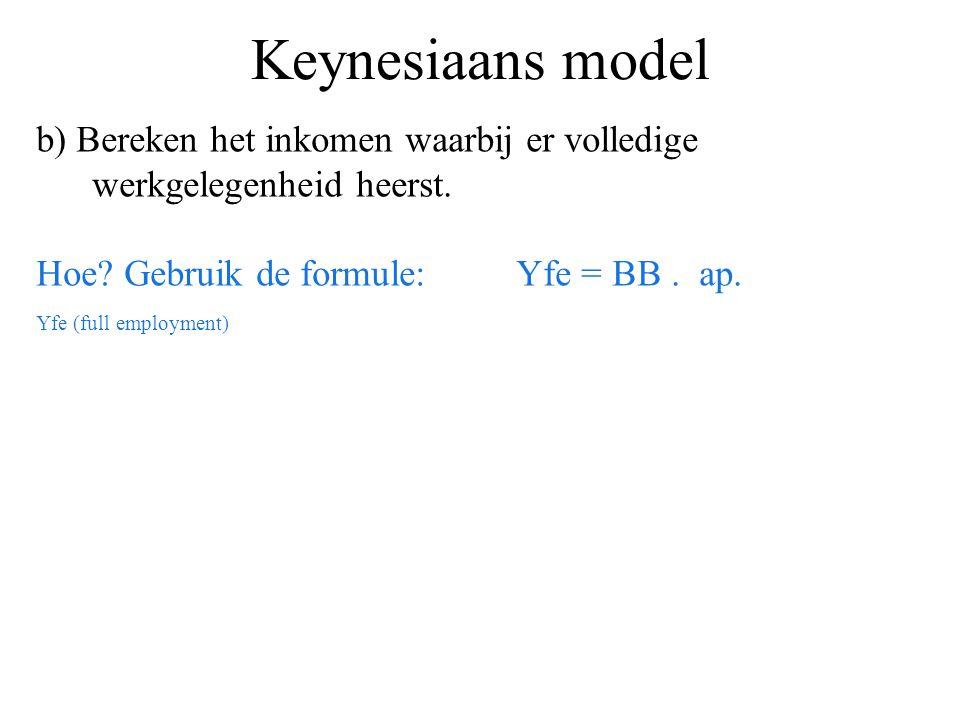 Keynesiaans model b) Bereken het inkomen waarbij er volledige werkgelegenheid heerst. Hoe? Gebruik de formule:Yfe = BB. ap. Yfe (full employment)