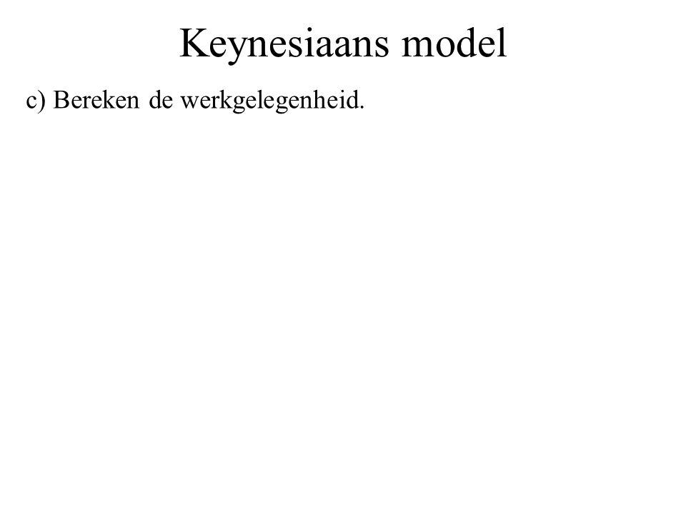 Keynesiaans model c) Bereken de werkgelegenheid.
