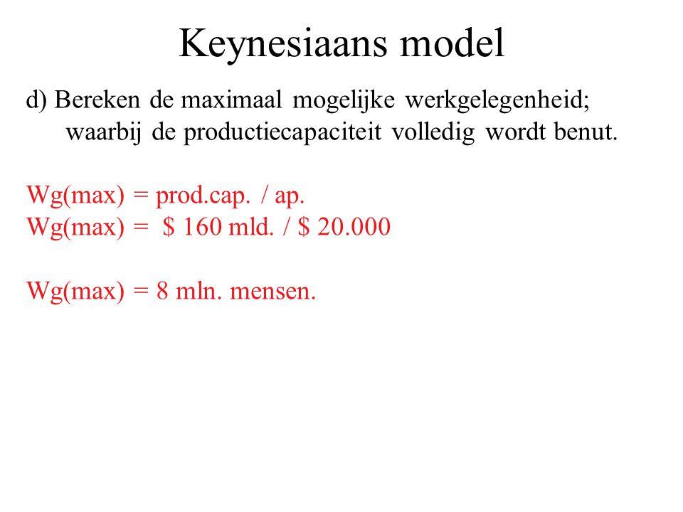 Keynesiaans model d) Bereken de maximaal mogelijke werkgelegenheid; waarbij de productiecapaciteit volledig wordt benut. Wg(max) = prod.cap. / ap. Wg(