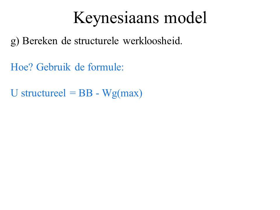 Keynesiaans model g) Bereken de structurele werkloosheid. Hoe? Gebruik de formule: U structureel = BB - Wg(max)