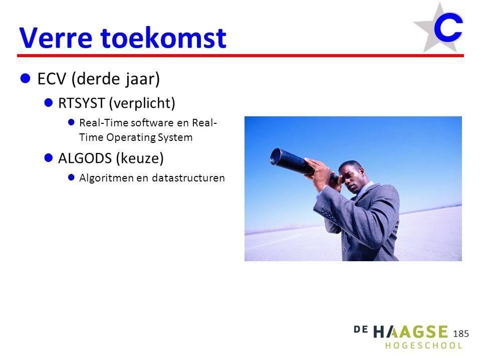 185 Verre toekomst ECV (derde jaar) RTSYST (verplicht) Real-Time software en Real- Time Operating System ALGODS (keuze) Algoritmen en datastructuren