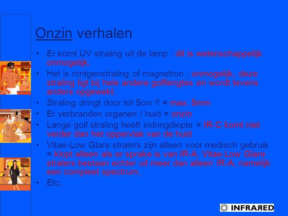 Philips Nederland, Special Lighting, BL InfraRed – H.J Dreuning Jan.05 14 Onzin verhalen Er komt UV straling uit de lamp : dit is wetenschappelijk onm