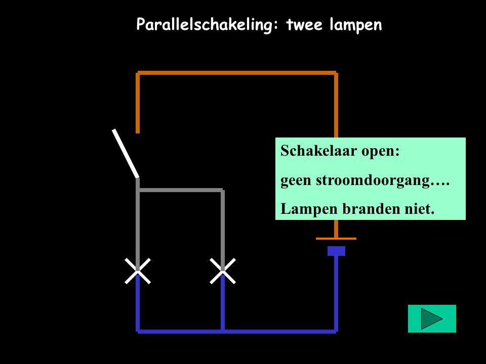 Parallelschakeling: twee lampen Schakelaar gesloten: stroomdoorgang….