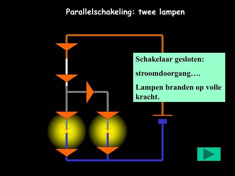 Parallelschakeling: twee lampen Schakelaar gesloten: stroomdoorgang…. Lampen branden op volle kracht.