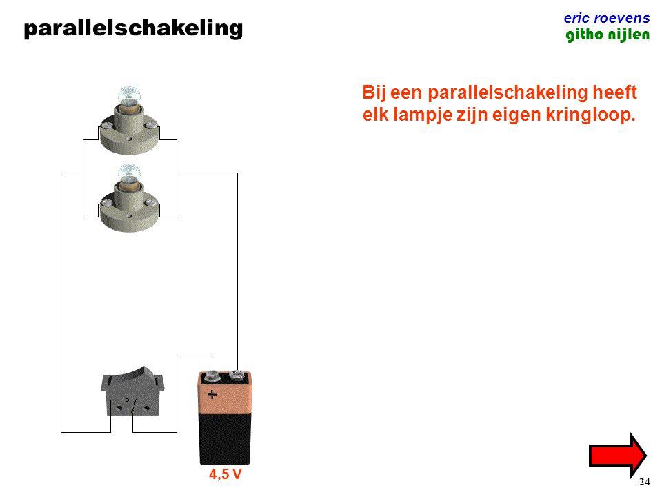 24 parallelschakeling eric roevens githo nijlen Bij een parallelschakeling heeft elk lampje zijn eigen kringloop. 4,5 V