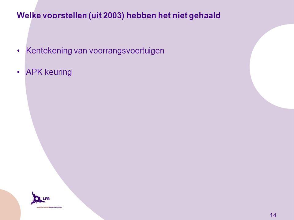14 Welke voorstellen (uit 2003) hebben het niet gehaald Kentekening van voorrangsvoertuigen APK keuring