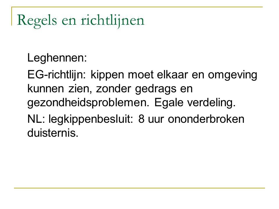 Regels en richtlijnen Leghennen: EG-richtlijn: kippen moet elkaar en omgeving kunnen zien, zonder gedrags en gezondheidsproblemen. Egale verdeling. NL