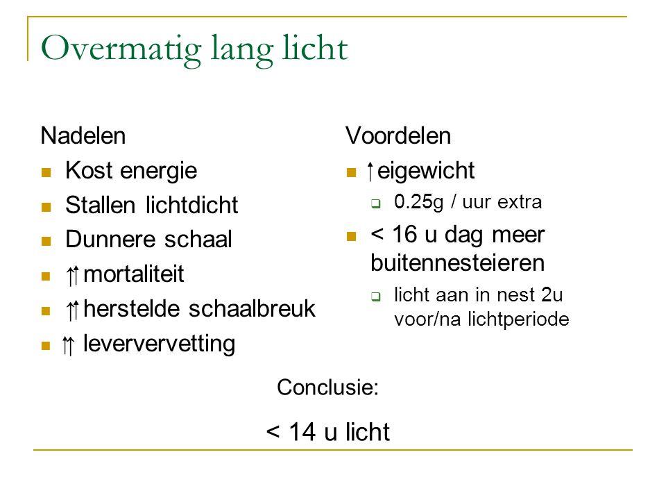 Overmatig lang licht Nadelen Kost energie Stallen lichtdicht Dunnere schaal ↑  mortaliteit ↑  herstelde schaalbreuk ↑ leververvetting Voordelen  e